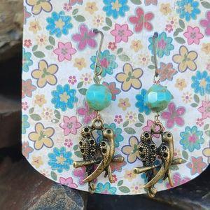 Handmade Czech Glass & Brass Lovebirds Earrings